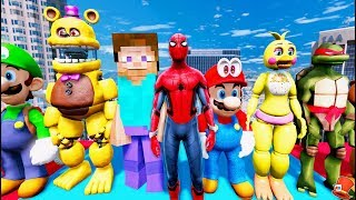 NEW SPIDERMAN MOD! ANIMATRONICS & MINECRAFT STEVE & MARIO ADVENTURE! (GTA 5 Mods FNAF RedHatter)