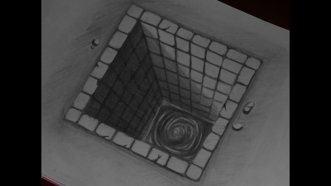 Drawing with pencil 2b 3d illusion of water in the bath