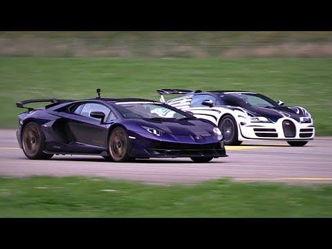 Lamborghini Aventador SVJ vs. Bugatti Veyron vs. Pagani Huayra | Head-to-Head Accelerations!