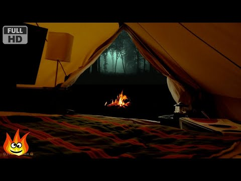 Virtual Camping with Campfire, Crickets, Owls and Other Relaxing Forest Nature Sounds at Night