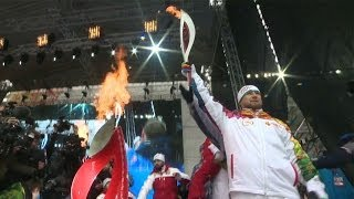 Chechen Leader Kadyrov Lights Olympic Torch in Grozny