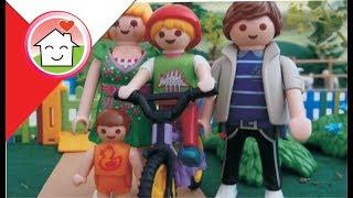 Playmobil po polsku Lenka uczy się jeździć na rowerze / Rodziną Hauserów