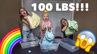 MAKING 100 POUNDS OF RAINBOW FLUFFY SLIME WITH EVERLEIGH!!!