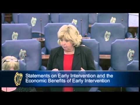 Senator Mary Moran speaking on early intervention and economic benefits