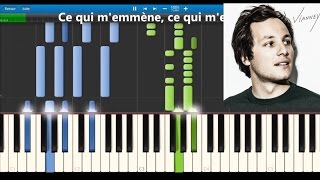 Vianney - Je m'en vais - Karaoke  / Piano synthesia tutorial (+ lyrics & Sheet music)