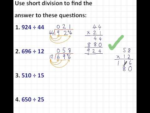 Short Division - 3 digits by 2 digits