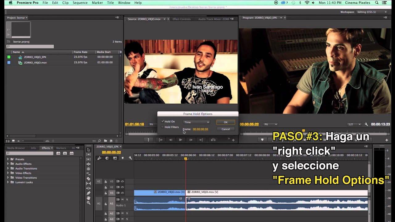 Adobe Premiere Pro CC 2014: ¿Cómo congelar un frame? - YouTube