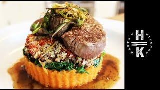 Fillet Steak, Stuffed Quinoa, Balsamic Tomatoes Mushroom, Sweet Potato And Kale