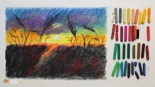 """Курс рисования """"Сухая пастель"""" Начинающие. Урок 3-3. Поле на закате."""