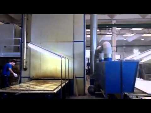 Resin application to marble and granite slabs