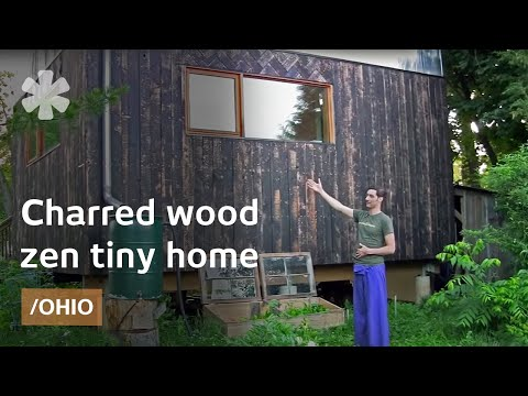 Japanese inspired wood clad legal tiny home in Ohio small town