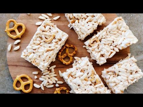 Salted Caramel Pretzel Rice Crispy Treats // EASY RECIPE