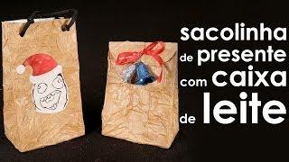 Como fazer sacolinha de presente de Natal (origami + artesanato)