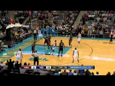 Chris Paul spin crossover and assist Emeka Okafor for the alley oop dunk vs Miami Heat