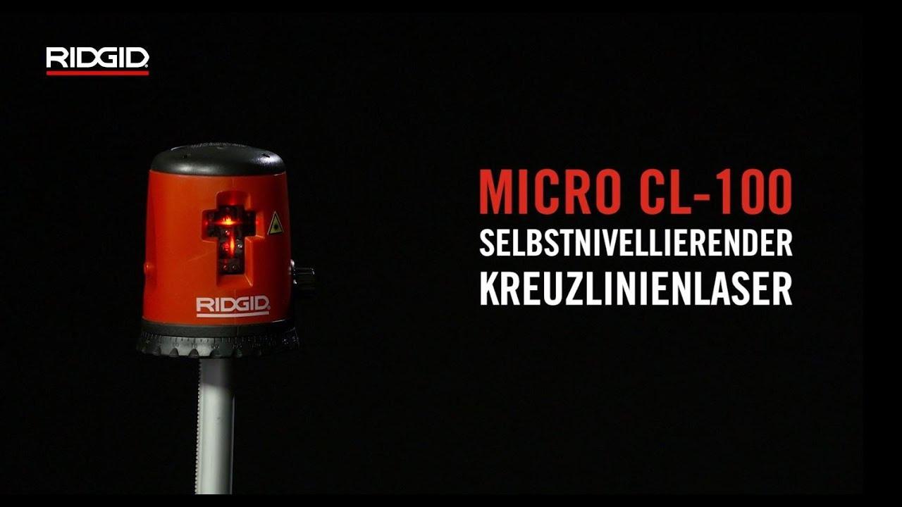 ridgid selbstnivellierender kreuzlinienlaser micro cl-100 - youtube