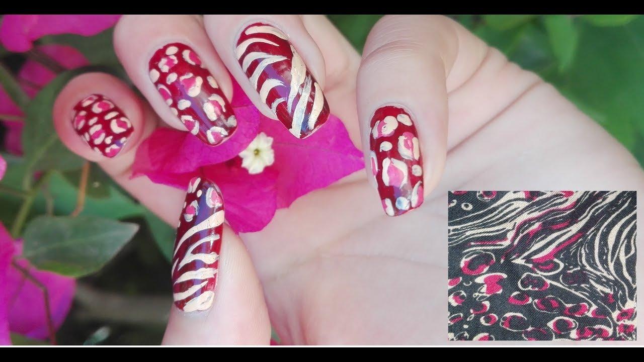 fabric inspired nail art tutorial