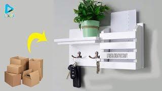 D.I.Y Rak dinding gantungan kunci dari kardus bekas murah dan mudah
