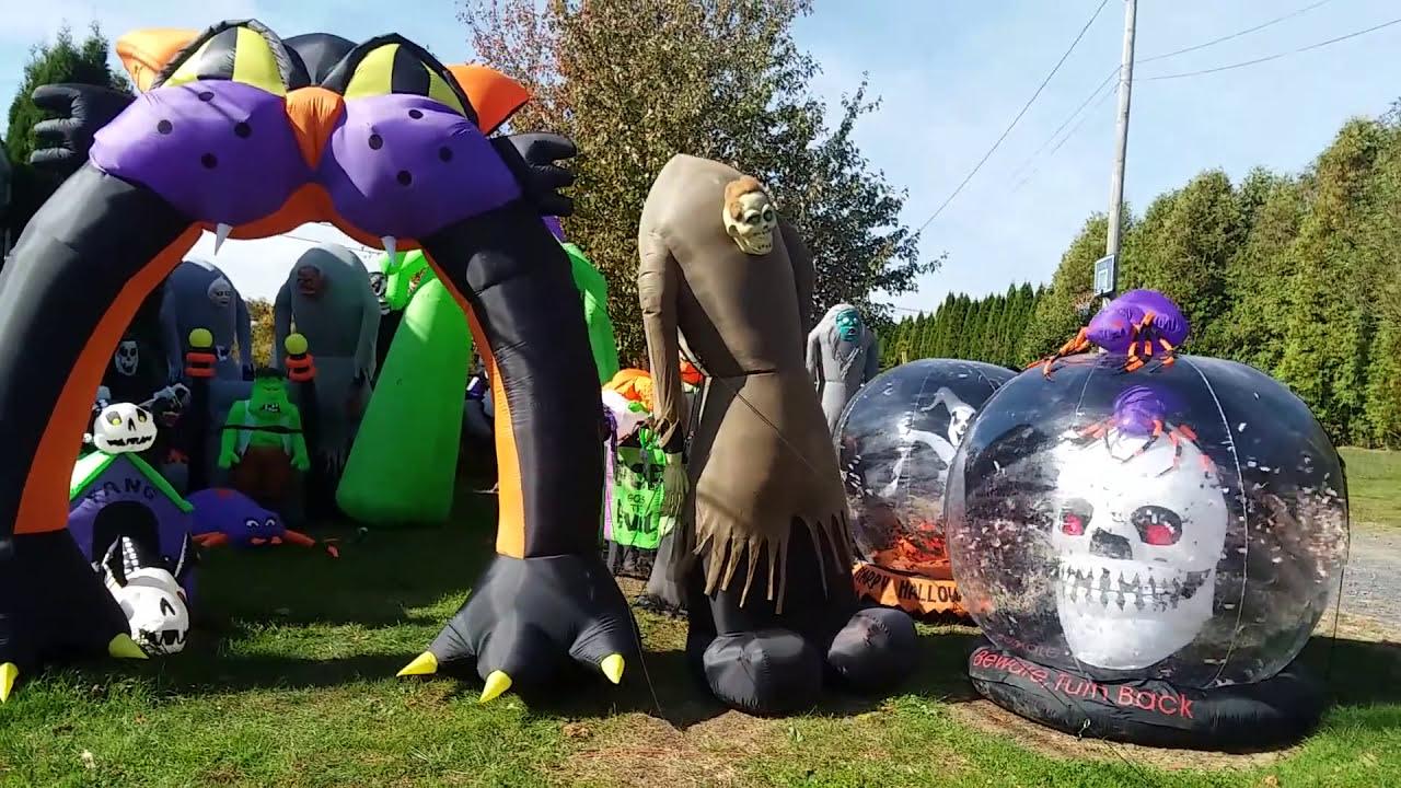 my 2017 halloween inflatables display - youtube