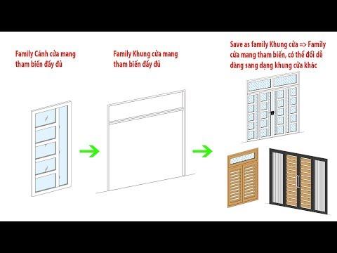 Revit KT Cửa kính, cửa panel, cửa lá sách Parameter - Family Door Nested