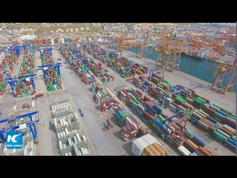 "China's ""Silk Road"" container ship docks at Piraeus Port, Greece"