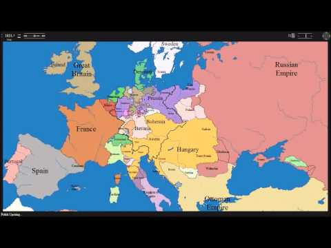 European time lapse map w years & events on