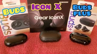 Samsung Gear icon X versus Galaxy Buds versus Galaxy Buds plus