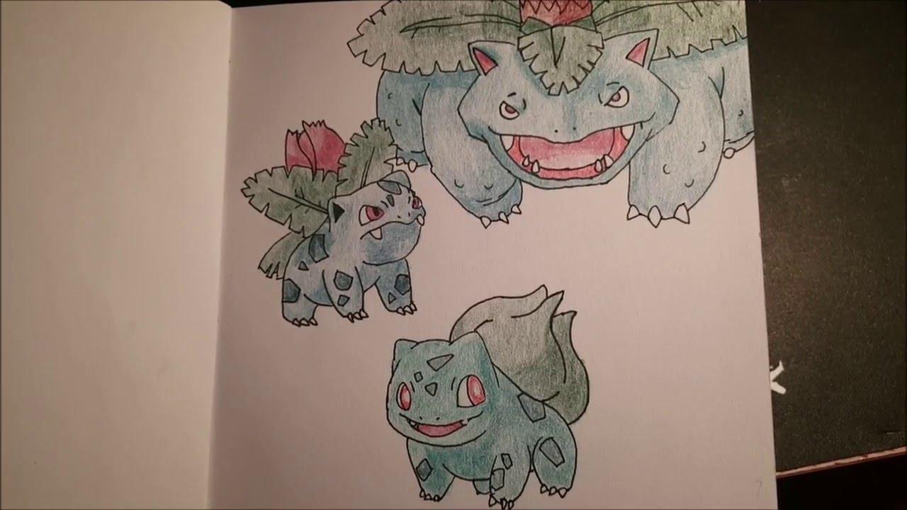 How To Draw Bulbasaur Pokemon No 1 Ivysaur No 2 And Venusaur No 3