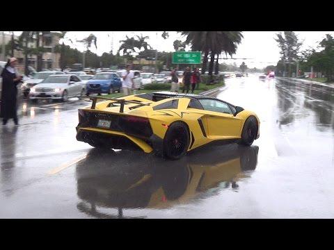 Supercars BLASTING from Lamborghini Miami. Halloween Supercar RUN 2016 LOUD Acceleration