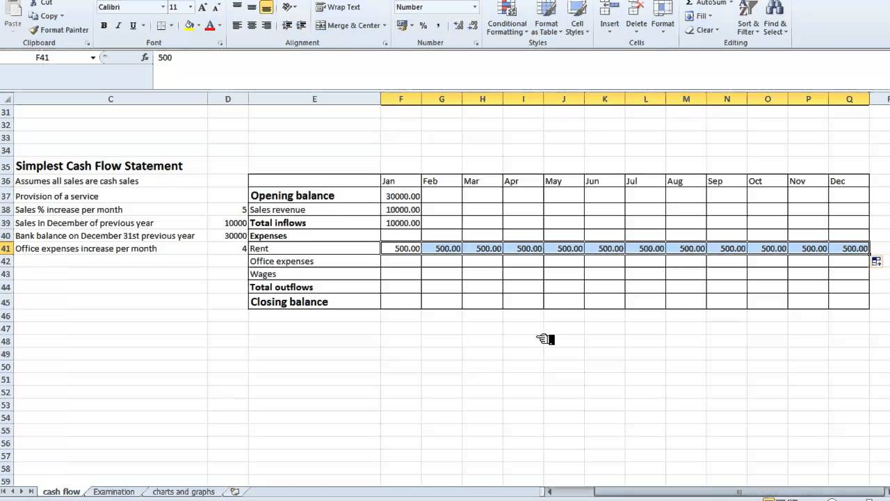 spreadsheet simple cash flow statement youtube