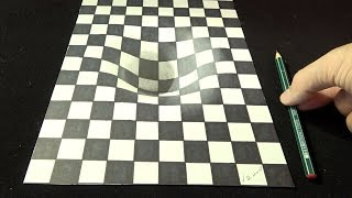 How to Draw 3D Grid Illusion - Anamorphic Art - Vamos