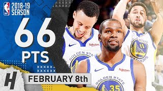 Stephen Curry, Kevin Durant & Klay Thompson BEST BIG 3 Highlights vs Suns 2019.02.08 - 66 Pts