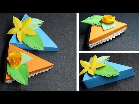 How to make Gift Boxes with Birthday Cakes - Triangular Box - DIY Paper Crafts