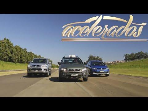 FIAT STRADA x VW SAVEIRO x TOYOTA HILUX + CHEVROLET S10 | ACELERADOS | VOLTA RÁPIDA ON BOARD #101