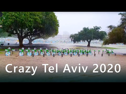 Berjalan Di HUJAN BERAT Di Tel Aviv, Israel - ASMR
