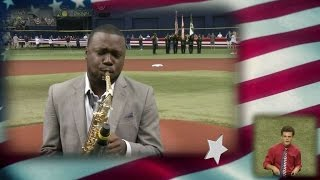 Saxophonist BK Jackson performs anthem
