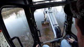 DIY Digging Bass Fishing Holes with Excavator While Pond is Low PART 1