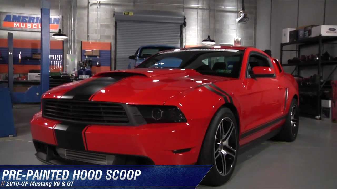 mustang hood scoop pre painted 10 12 gt v6 review. Black Bedroom Furniture Sets. Home Design Ideas