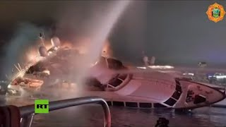 El lujoso yate del cantante Marc Anthony se incendia y luego se hunde en Miami