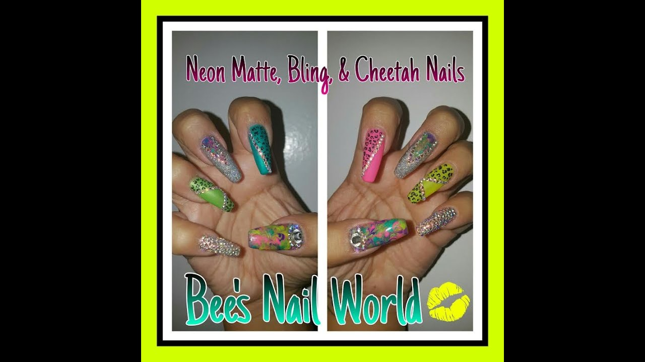 Neon, Matte, Holo, & Bling Long Coffin Shaped Nails - YouTube