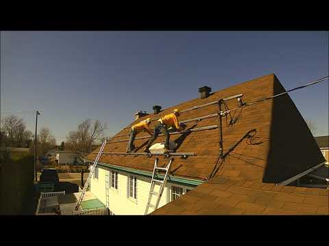 Solar panel installation process, timelapse. Flashed roof mount 7.2 KW by Québec Solar