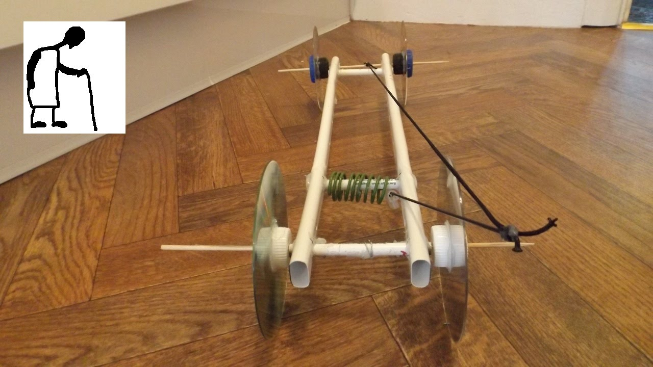 Home Made Spring Powered Car Torsion Not Tension Youtube