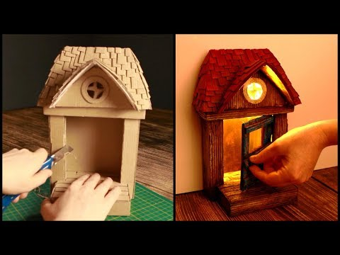 ❣DIY Rustic Fairy Door Lamp Using Cardboard Boxes❣