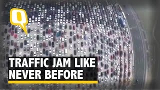 Drone Footage Captures Traffic Jam Like Never Before