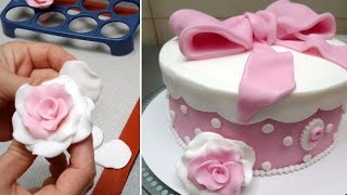 How To Make Fondant Roses -  Fast And Easy Way  by CakesStepbyStep