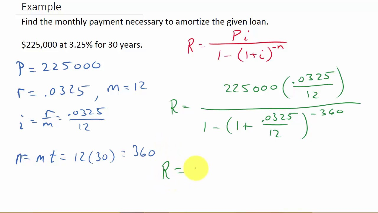 how to calculate amortization payments youtube