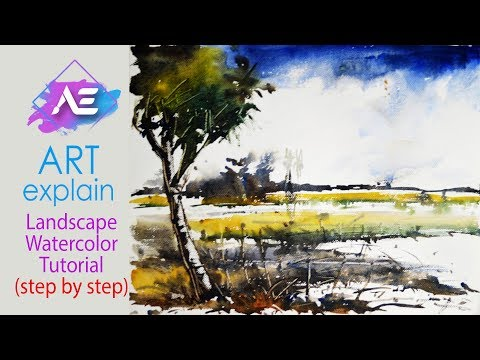 Watercolor Painting Tutorial Landscape | How to paint a watercolor landscape | Art Explain