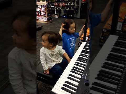 Amelia and Savannah in the music store, in Arizona