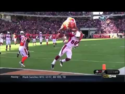 8 years ago, during week 7. Cincinnati Bengals reciever Jerome Simspon caught a pass and then flipped over a defender to score a touchdown