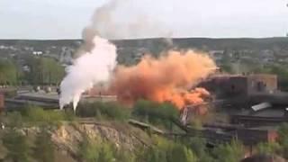 Подрыв заводской трубы никель