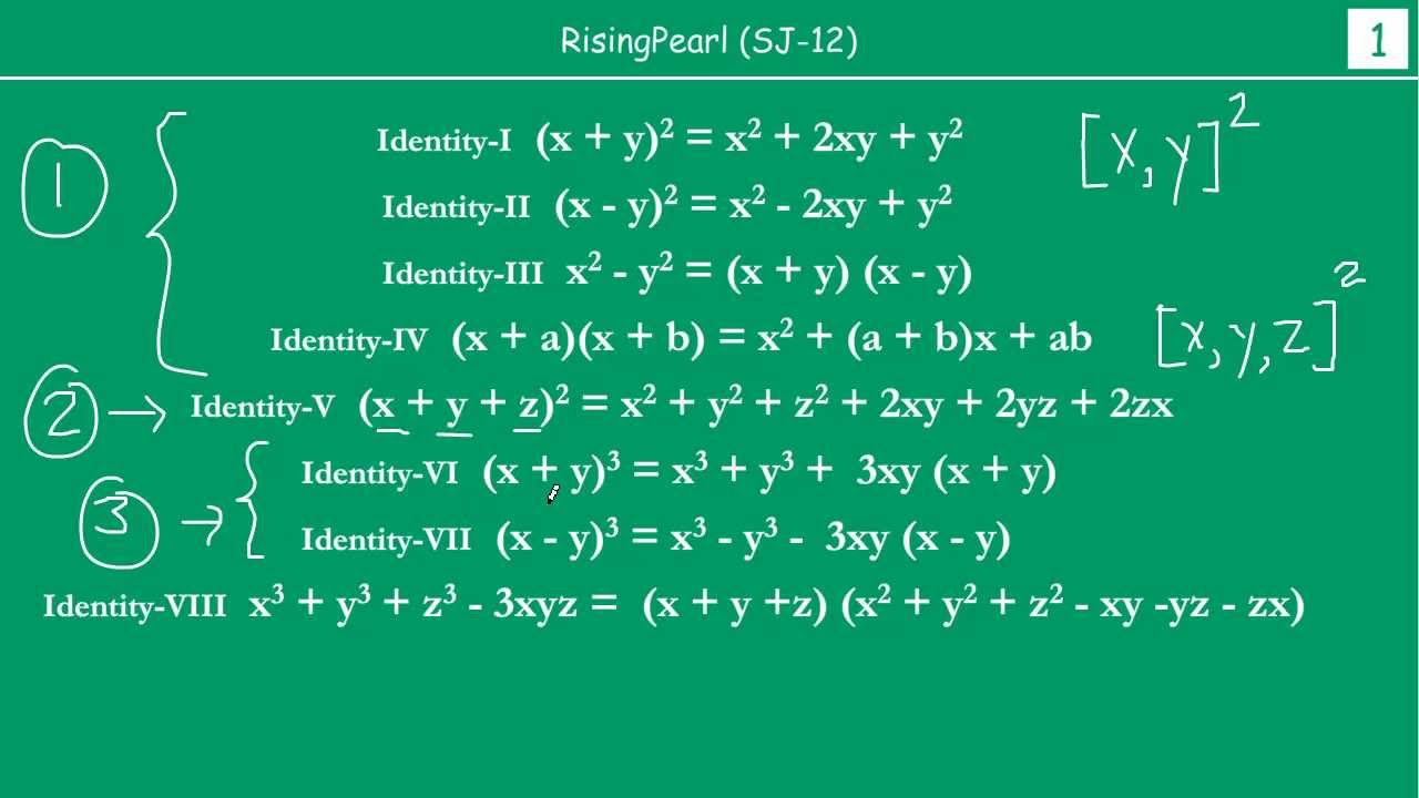 Solving problems on Important Algebraic Identities (1 of 2) - YouTube